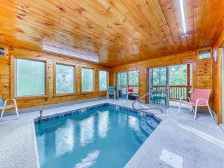 Mountain view cabin w/ private indoor pool, hot tub, game room & decks!