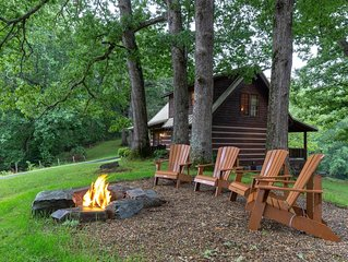 Classic log cabin home in private community - large porch & fireplace!