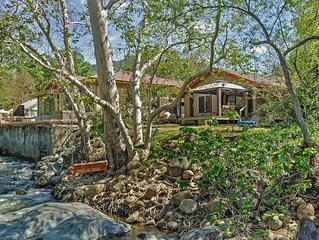 RIVERFRONT cottage w/full kitchen, EV charger, high speed wifi!