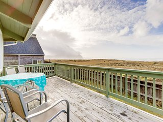 Oceanfront octagon-shaped house with panoramic views