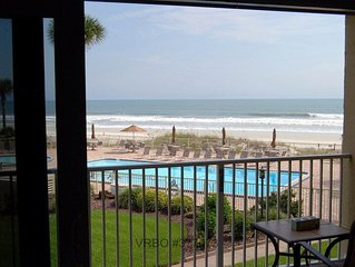 NEW SPECIAL! OCEANFRONT condo w/ new renovations throughout. Steps from the sand