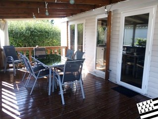 Terrain privé - 6/8 places - terrasse couverte 18m²