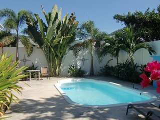 3bdrm, 3-1/2 bath home with A/C and pool, in quiet area, completely fenced.