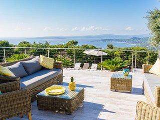 Delicieuse Villa, vue magnifique baie de saint tropez, piscine chauffee