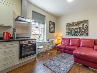A cool first floor apartment which sleeps two and has a gorgeous garden to enjoy