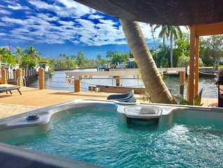Tropical Vacation Oasis with Pool and Jacuzzi on extra wide Waterfront
