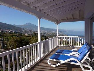 Villa mit Pool, traumhaft schöne Aussicht über die Nordküste und den Teide W-lan