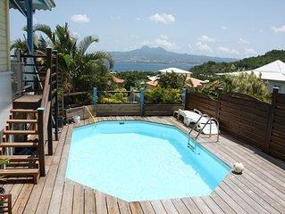 Villa créole proche de la plage, piscine, vue sur la baie de Fort de France