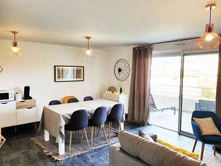 Appt de 60 m2, classe 4**** avec 2 chambres, terrasse et wifi.