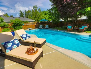 Quiet Updated Neighborhood Home With Pool & Hot Tub - Walk to Town
