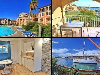 Grande terrasse, 50m plage vue mer + piscine privée + parking fermé