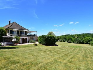 Gîte with private swimming pool and stunning view of the Lac de Pannecière .