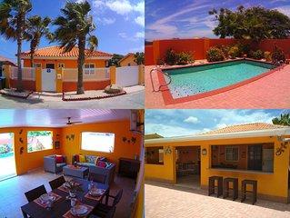 Cas Trupial - Privé villa met zwembad, 3 slaapkamers, 2 badkamers, ruime veranda