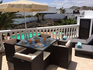 Front line, contemporary, newly refurbished, stunning sea views, pool, WiFi, SKY