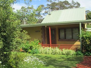 Blue Gum house overlooking a garden and a bush reserve offers a relax stay.
