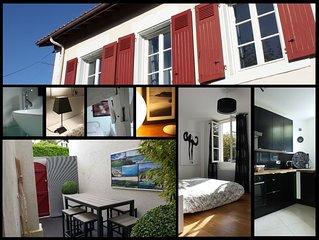 Maison centre Biarritz grande plage, 4 chambres, terrasse, 300m plage, parking