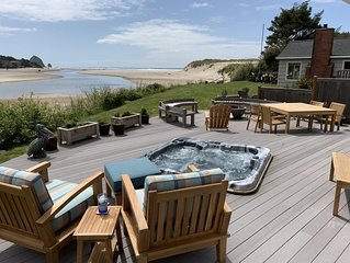 Amazing ocean & estuary views!  Relax on the deck (hot tub & fire-pit)