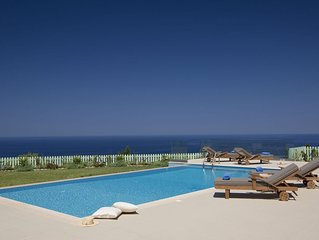 Private, not overlooked villa with pool and 270 degree panoramic sea views