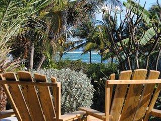 Maison Bleue plage de sable au bout du jardin, endroit rare même aux Antilles.