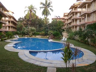 Apartment is situated in a gated modern complex in Arpora, north Goa.