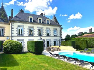 Renovated Eight Bedroom Petit Chateau with heated Pool In Historic Chalus