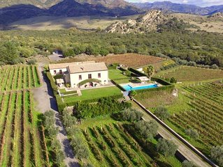 Aerian view from villa Baroni and its guest houese and pool area