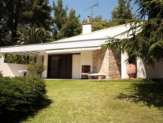 Traditional villa with a communal swimming pool in the forest