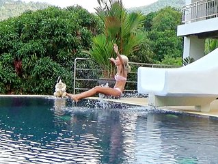 Pool Villa mit Wasserrutsche, Meerblick, klimatisiert