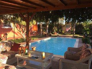 Villa, piscine, jardin,  sans vis-à-vis, 10 min à pied de la plage el Haouzia