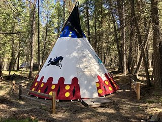 CRAZY HORSE, a tipi where a family of 6 adults and 2 kids can sleep