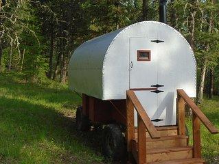 authentic sheepherder wagon camping near wilderness areas in Kootenai NFS