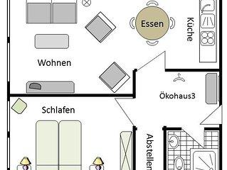 Ökohaus 3, 45qm, 1 Schlafzimmer, max. 4 Personen