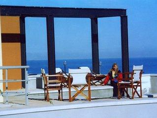 villa mit privaten pool auf Akrotiri mit Blick aufs Meer