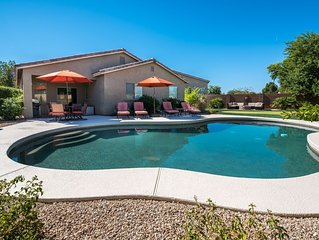 San Tan Valley Backyard Paradise with Heated Pool, Putting Green, and Fire Pit
