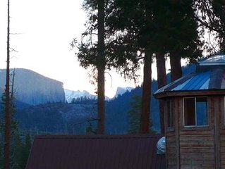 INSIDE Yosemite! Incredible VIEW into Yosemite Valley,  Log Cabin Home!