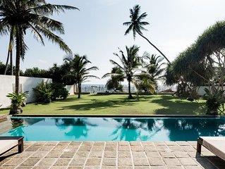 PRIVATVILLA  für 6 Personen mit Pool direkt am Traumstrand von Ambalangoda