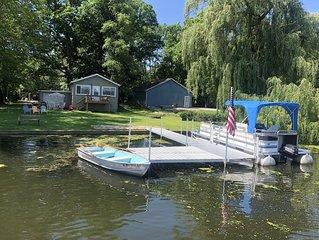 Lakefront Lakehouse w/ Pontoon! Boat, fish, sunbathe or swim in your backyard!
