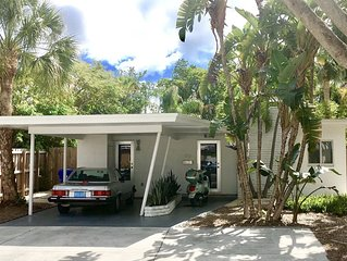 Private Mid-Century Modern Gem w/  Garden & Terrace  Central -2 mls to Beach.