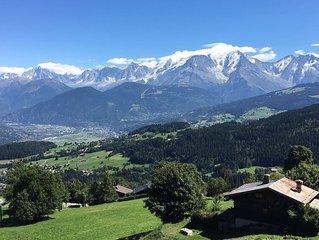 3 chambres pour 8 personnes dans magnifique chalet face au Mont-Blanc