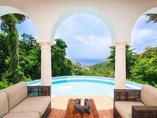 Spectacular Hilltop Home w/ Private Beach, Mountain & Sea Views.