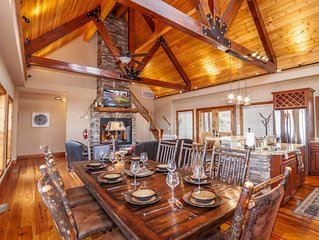 Upscale 4BR/4BA with Mountain Views, Pool Table, Covered Porch, and Rustic Finis