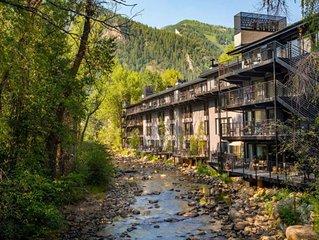 SUMMERTIME On River in dt Aspen! FP, balcony, Walk to Gondola. Pool/Hot Tub/Gym