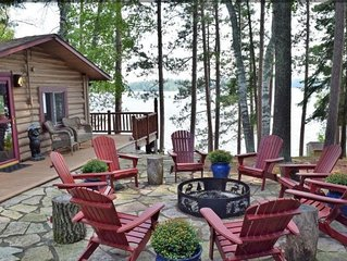 Rustic Log Cabin with Pontoon, Bunk House, and Hot Tub on Beautiful Woman Lake