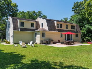 Elegant and spacious North Fork home; near beaches, vineyards, farms and dining.