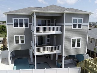 Endless Summer, Holden Beach oceanfront with pool, tiki bar, pool table, and spa