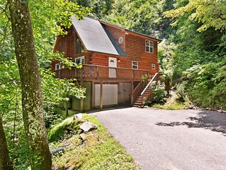 Luxurious cabin w/private hot tub, firepit and great views - dogs allowed!
