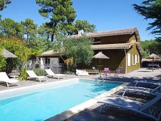 Spacieuse VILLA 12 pers CAP FERRET tout confort piscine chauffée terrasse couv