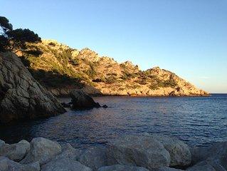 50 m Mer calanque  la Vesse mediterrannée maison cour 8 places  place bateau