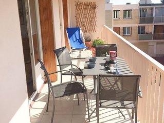 Superbe T3 climatisé, à 150m de la plage, terrasse, parking, wifi