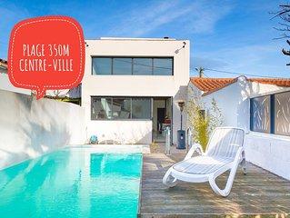 Maison Centre Ville, plage 350 m, piscine chauffée